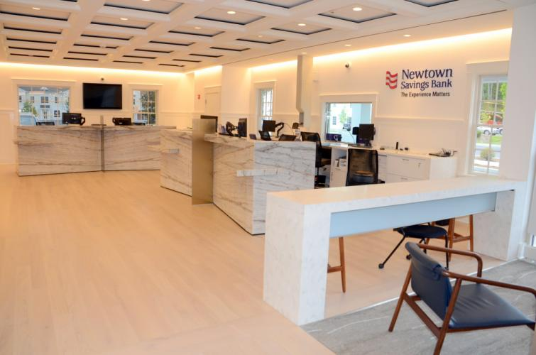 The spacious, bright, and welcoming main retail floor of Newtown Savings Bank's soon-to-open new branch at 32 Church Hill Road is packed with cutting-edge technology and classic design appointments, all designed to enhance and ease the customer…