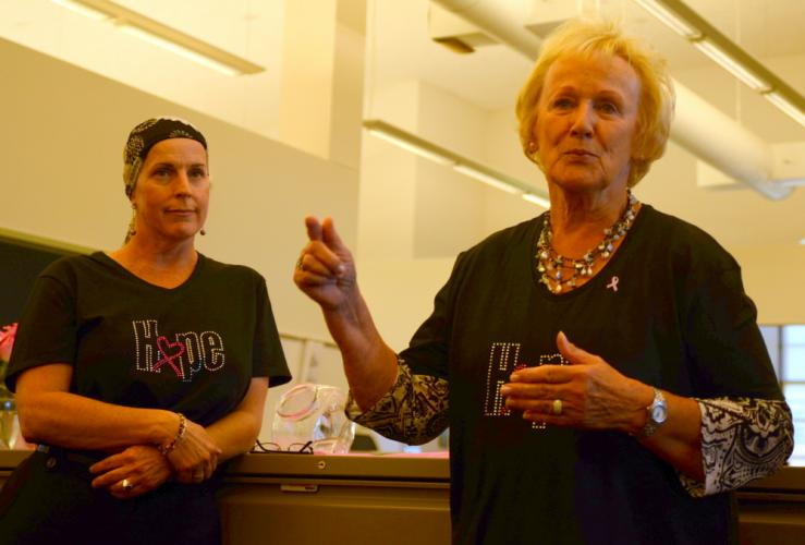 First Selectman Pat Llodra, herself a cancer survivor, stands with her longtime Executive Assistant and cancer survivor Sue Marcinek during an October 2014 Breast Cancer Month reception.  (Bee file photo)