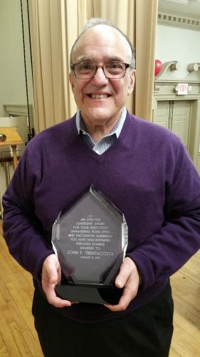 While he was often nominated, former Newtown Savings Bank President and CEO John Trentacosta always recused himself from receiving the esteemed James Osborne Leadership Award. But during a retirement reception thrown by his staff January 8, the…