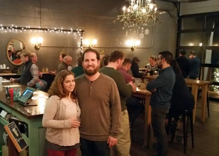 Owner David Kaye and his fiance Sarah Zitnay stand in the main tap room at Nod Hill Brewery, at 137 Ethan Allen Highway (Route 7) in Ridgefield.
