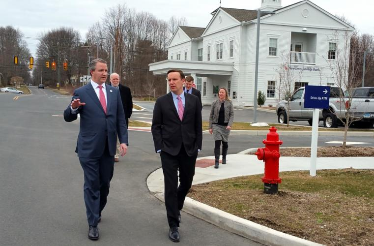 First Selectman Dan Rosenthal, Director of Planning George Benson, and economic development liaison Christal Preszler were on hand to accompany US Senator Chris Murphy on a brief tour of the Village at Lexington Gardens March 28.  (Bee Photos, Voket)