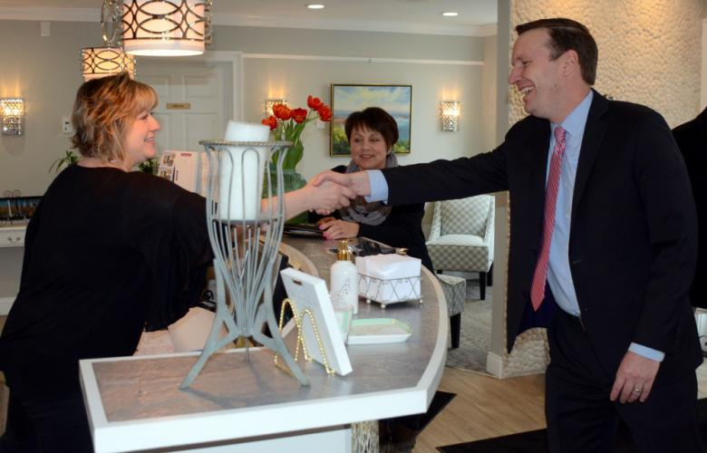 Dawn Turcott welcomes Senator Chris Murphy to Avance Day Spa during a quick pop-in visit March 28. The federal lawmaker was invited to tour the Village at Lexington Gardens to see how the long-dormant property had been revitalized into a busy…