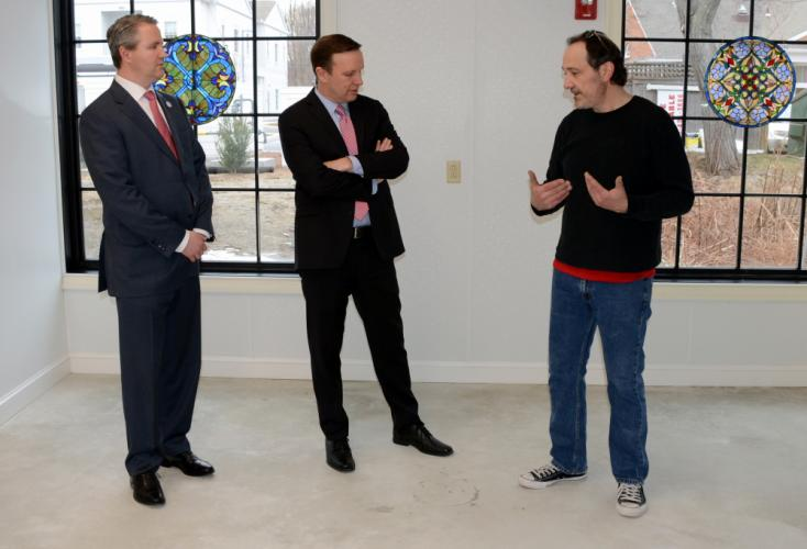 Frank Navone, right, chats with First Selectman Dan Rosenthal and US Senator Chris Murphy in his soon-to-open Panificio Navona Bakery.