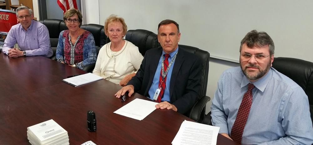 A number of local leaders sat with The Newtown Bee for video messages ahead of the 2017 Budget Referendum, which is scheduled for Tuesday, April 25. Among those who provided video messages are, from left, Board of Finance Chairman John Godin,…