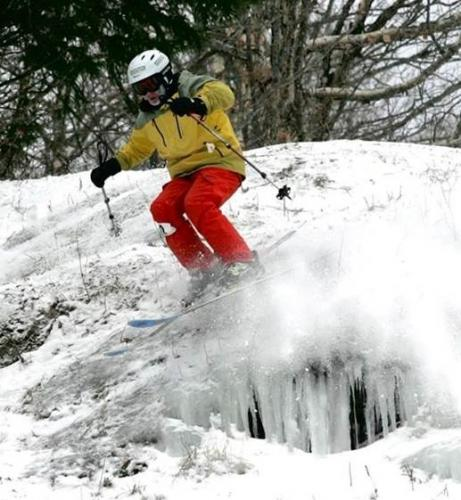 Ice, rocks, cliffs - conditions many skiers avoid - are welcomed by extreme skier Jordan Conrad.
