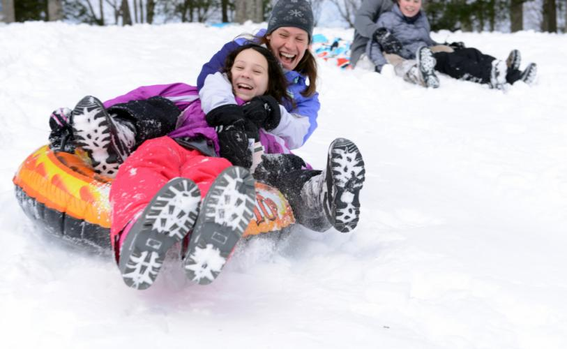 Blizzard Stella provided an ample amount of this winter's rare snowfall for sledding, during the March 14 storm. As sun broke through and softened a snowy slope at Treadwell Park, Wednesday, March 15, Melissa Singlak wrapped her arms around Madison…