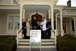 Newtown Chamber of Commerce members joined Dr Robert Brody for a ceremonial ribbon cutting at his office at 33 Church Hill Road. Attendees and supporters included Linda Andrews with TR Paul; Chamber of Commerce official Helen Brickfield; Matt…