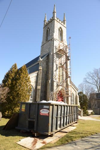 Work is currently underway at Trinity Church to clear out any debris and repair plaster and repaint the interior.--Bee Photo, Bobowick
