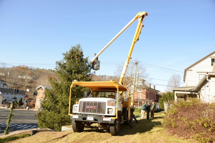 Newtown Public Works Department employees put the lights onto one of the trees Sandy Hook Center on, November 28, ahead of tree lighting events in town this weekend.--Bee Photo, Bobowick
