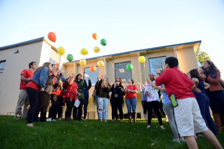 The Resiliency Center of Newtown staff welcomed Caitlin Nelson's fellow Sacred Heart sorority sisters, students, family, and friends for a Celebration of Kindness on October 27. The afternoon concluded as guests released balloons.--Bee Photo, Bobowick