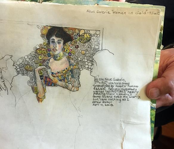 """Dated April 14, 2018, resident and artist Chuck Fulkerson headed the notebook page, Neue Galerie """"Woman In Gold"""" in New York. He was sketching the painting then hanging in New York, a portrait of Adele Bloch-Bauer I, also called """"The Lady in Gold,""""…"""