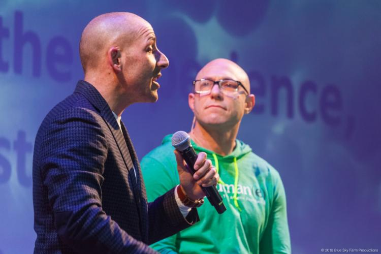 Golden Gate Bridge suicide survivor Kevin Hines speaks to a packed crowd at the Edmond Town Hall Theatre as Avielle Foundation Co-founder Dr Jeremy Richman looks on. Mr Hines was the featured speaker at the second installment of the Avielle…