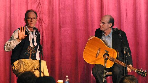 In 2008, brother James (right) joined Livingston Taylor for a Berklee College of Music workshop. Livingston Taylor has been professor, teaching a Berklee stage performance course since 1989.