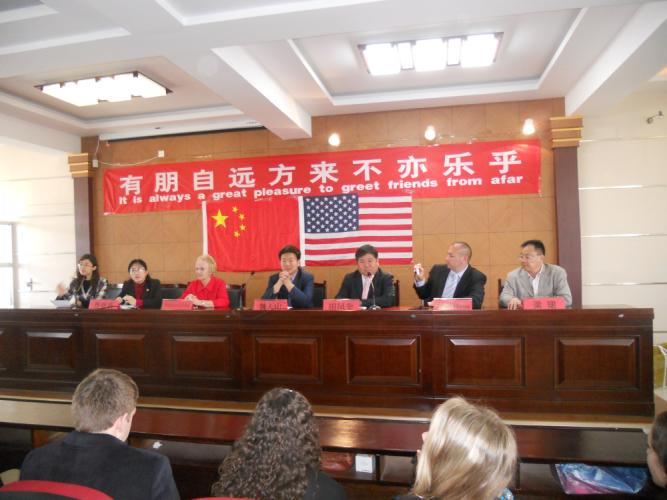 Newtown First Selectman Pat Llodra, third from left, is pictured during a junket to China in 2012 that she participated in along with local students, educators, and economic development representatives. Mrs Llodra announced this week that she is…