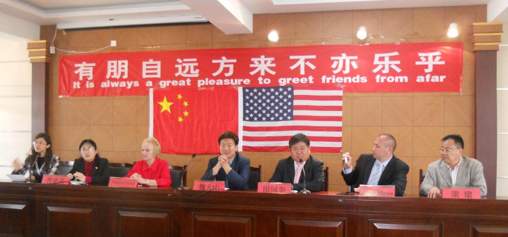 Newtown First Selectman Pat Llodra, third from left, is pictured during a junket to China in 2012 that she participated in along with local students, educators, and economic development representatives.