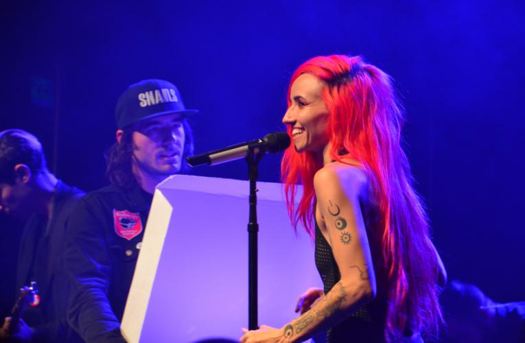 """Canadian electro-pop singer Lights received a """"pizza"""" delivery during her We Were Here Tour performance at Irving Plaza on February 26, that turned out to be a concealed synthesizer she then played during her set. (Bee Photo, Silber)"""