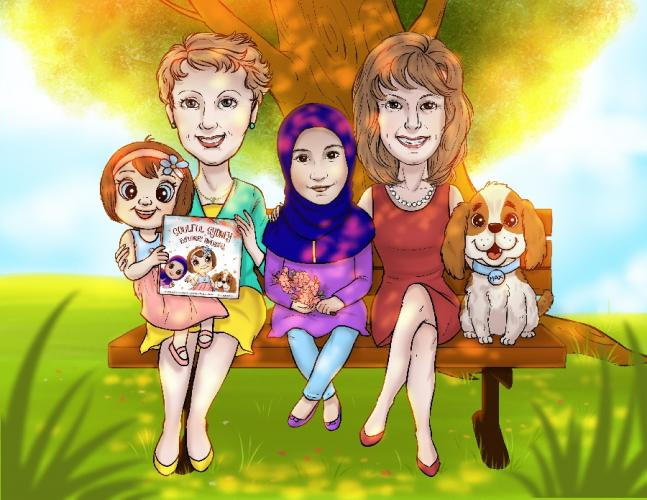 Illustrator Tian created an image of those behind the Soulful Sydney Explores Diversity project. From left is Terry Murphy, with the Soulful Sydney character on her lap, Mariam Azeez, and Deborah Clarke with the book's dog, Max, beside her.