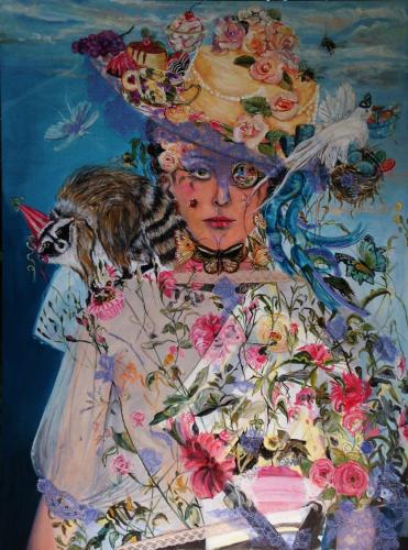 """""""Madame Garden Party"""" is one of the works that follows the theme of Susan McLaughlin's next exhibition, which opens August 9 at Good News Café and Gallery in Woodbury. An opening reception is planned for Sunday, August 14."""