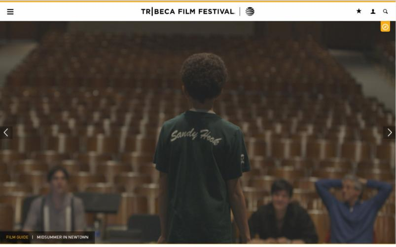 A screenshot from the Tribeca Film Festival website features a still from <i>Midsummer In Newtown</i>, which will receive its world premiere at the film festival on Sunday, April 17.