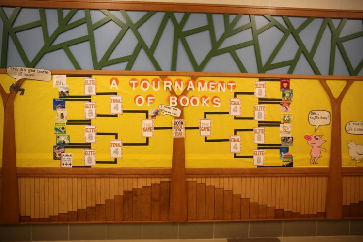 """Sandy Hook Elementary School library/media specialist Katie Mauro created this bulletin board at the school to kick-off """"A Tournament of Books"""" on March 5."""