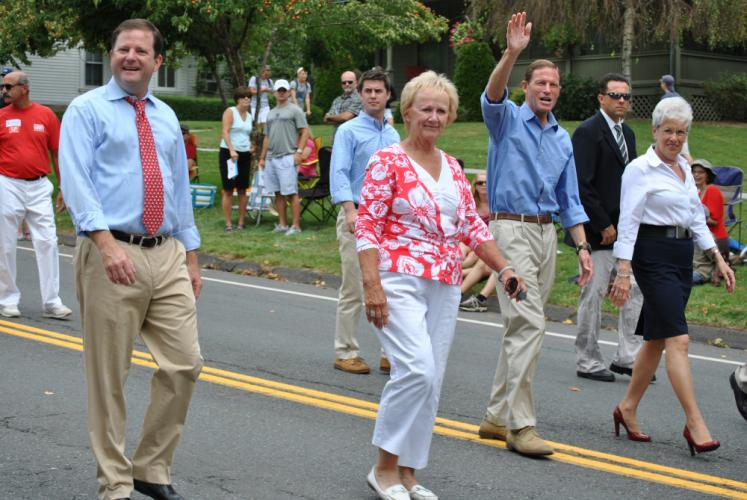 For all of her four terms in office, First Selectman Pat Llodra was a fixture in the local Labor Day Parade, often marching alongside officials like former Connecticut Senator John McKinney, far left, US Senator Richard Blumenthal, and Lieutenant…