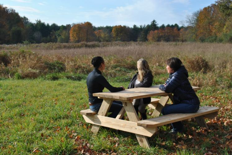 From left, Monica Roberto and Harmony Verna of The Animal Center, and Jenny Hubbard sit at a picnic table placed on property deeded to The Catherine Violet Hubbard Foundation, last month, for the creation of an animal sanctuary. The Animal Center in…