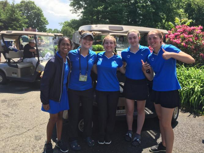 Newtown High's golfers, led by individual champ Sarah Houle, were eighth in the state.