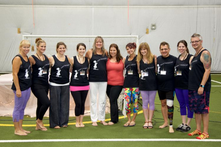 The Newtown Yoga Festival team, pictured from left, included Sharon Poarch, Jennifer Smith, Rebecca Archer, Renee Kennedy, Karen Pierce, Jennifer Aurelia, Amie Meleshkewich, Suzy DeYoung, Johnny Vacca, Kathleen Snyder, and Michael Anderson. Not…