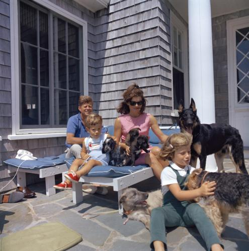 Pictured in the family photo are President Kennedy, First Lady Jacqueline Kennedy, Caroline Kennedy, and John F. Kennedy, Jr, along with eight of the nine family dogs. (Courtesy of the John F. Kennedy Presidential Library and Museum)