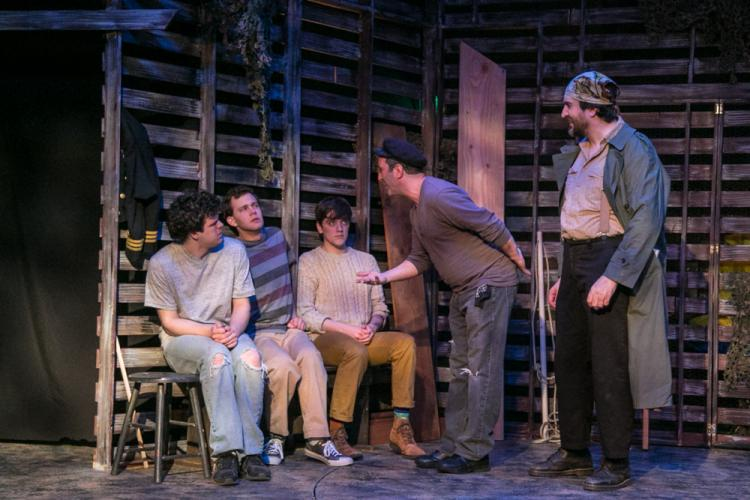 Karl Hinger, Cullen Burling, Jack Harding, Alexis Vournazon and Michael Wright in a scene from <i>Peter and The Starcatcher</i> at TheatreWorks New Milford.  (Richard Pettibone photo)