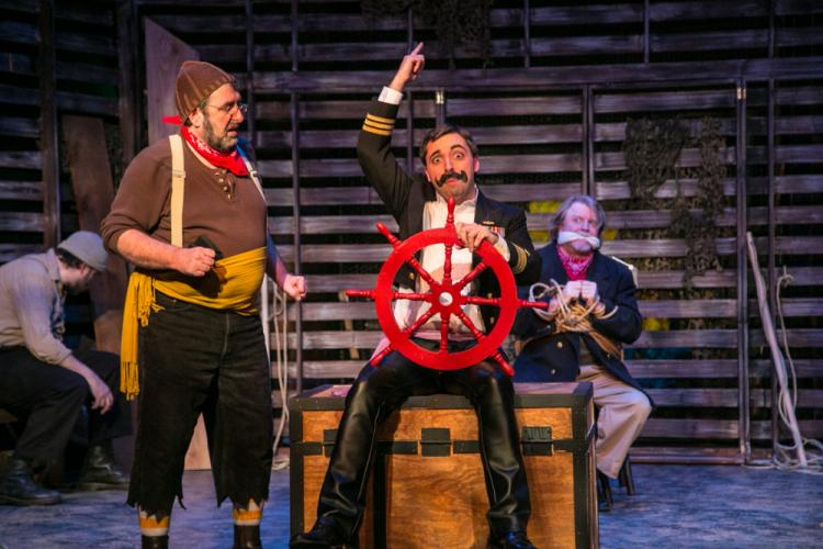 Michael Wright, Steve Stott, Matt Austin and Chris Marker in a scene from <i>Peter and The Starcatcher</i> at TheatreWorks New Milford.  (Richard Pettibone photo)