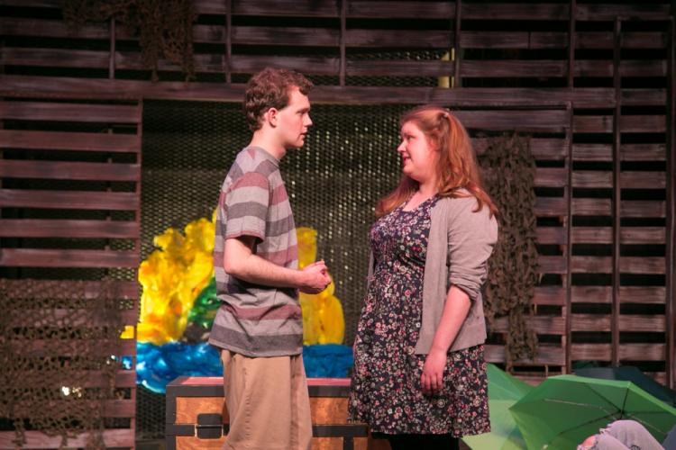 Cullen Burling and Abbey Lynch in a scene from <i>Peter and The Starcatcher</i> at TheatreWorks New Milford.  (Richard Pettibone photo)