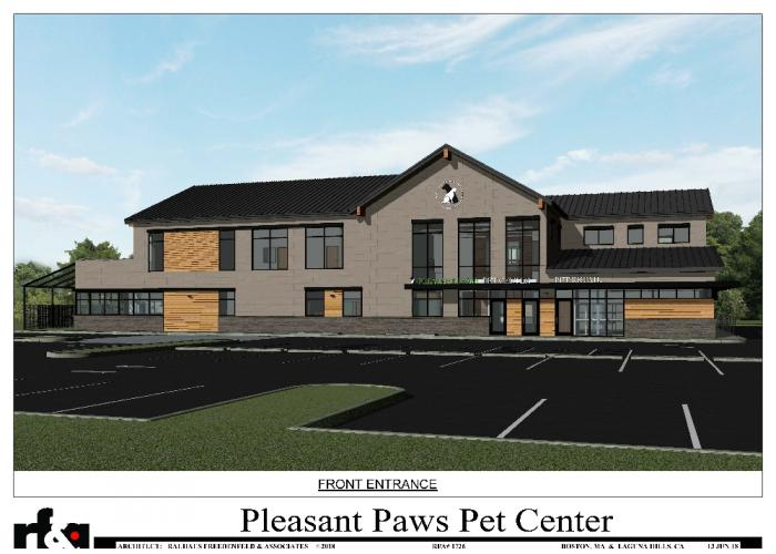 The Planning and Zoning Commission on June 21 approved a special zoning permit for Pleasant Paws Pet Center for 94 South Main Street. The large veterinary complex would provide a range of pet services.  (Rauhaus Freedenfeld & Associates, Architects)