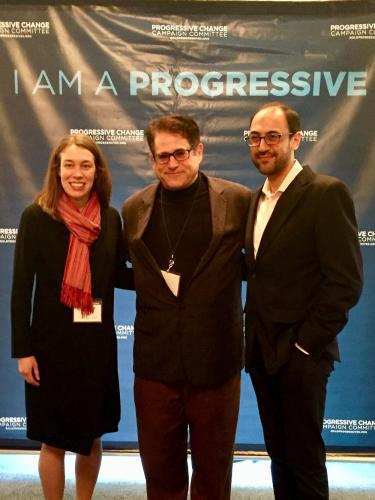 :Rabbi Shaul Praver, formerly of Newtown's Congregation Adath Israel, has decided to enter the race for the 5th US Congressional District as a Democrat. He is pictured center in this undated photo, between Adam Green and Stephanie Taylor, co…