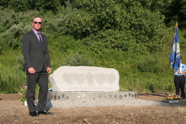 Richard Gray, who designed and led the creation of Rock of Angels, is seen during the monument's dedication on August 12, 2013.  (Bee file photo)