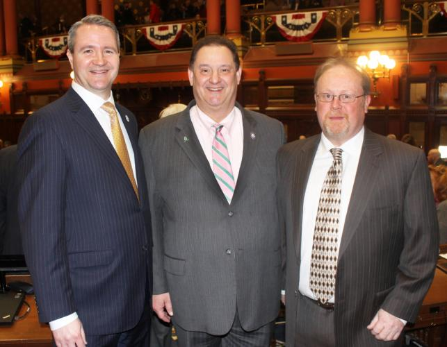 State Representative Mitch Bolinsky (R-106), center, is joined February 7 by special Newtown guests First Selectman Daniel Rosenthal, left, and Legislative Council Chair Paul Lundquist, at Opening Day ceremonies, as the Connecticut General Assembly…