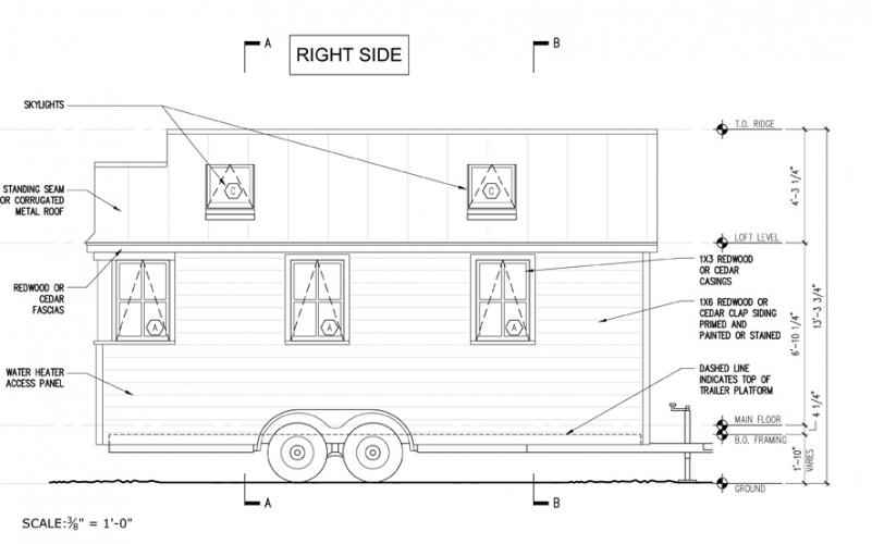 A blueprint of the basic design for The Runaway Shanty helps envision what the 170-square foot house being built by Luise and Shawn Gleason will look like when complete. The couple will modify the plans to meet their needs and ideas.