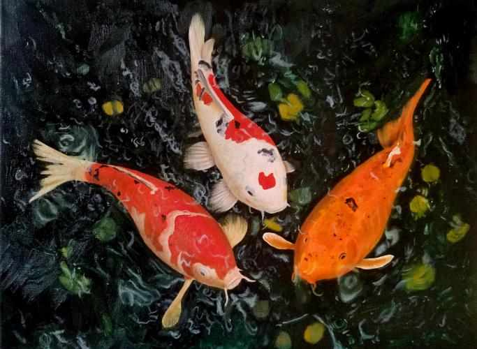 """""""Koi,"""" an oil on canvas by Wing Na (""""Wendy"""") Wong, is a perfect example of the kind of color that will pop from the walls of Newtown Municipal Center during the upcoming presentation of """"Color in Winter"""" by the Society of Creative Arts of Newtown."""