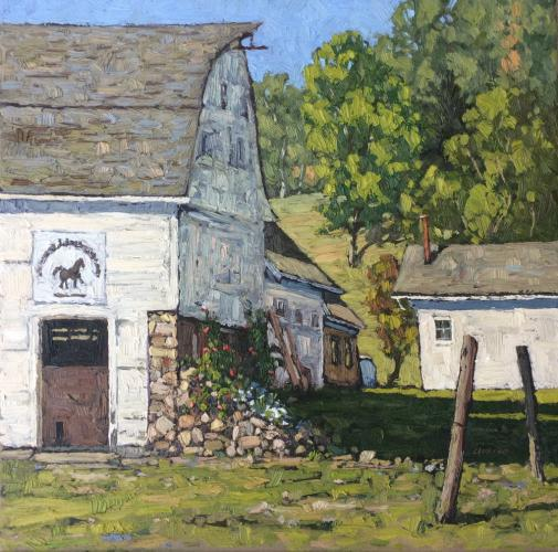 """""""Creamery Hill Horse Barns"""" is an award-winning 18-by-18-inch oil by Jim Laurino, who will be the guest artist for the first SCAN program of the new year."""
