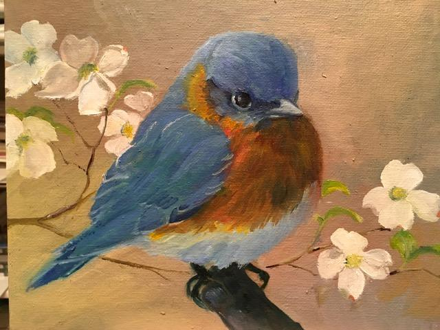 """""""Bluebird and Dogwood Blossoms"""" is an 8-by-10-inch oil by Pamela Danneman, who will be among the artists of The Society of Creative Arts of Newtown participating in a one-day exhibition of art at Newtown Meeting House this month."""