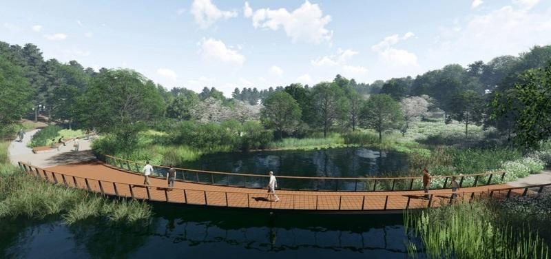 A series of pathways in design SH37 include wooden bridges over the two current bodies of water on the Riverside Road property.  (Rendering created by SWA Group)