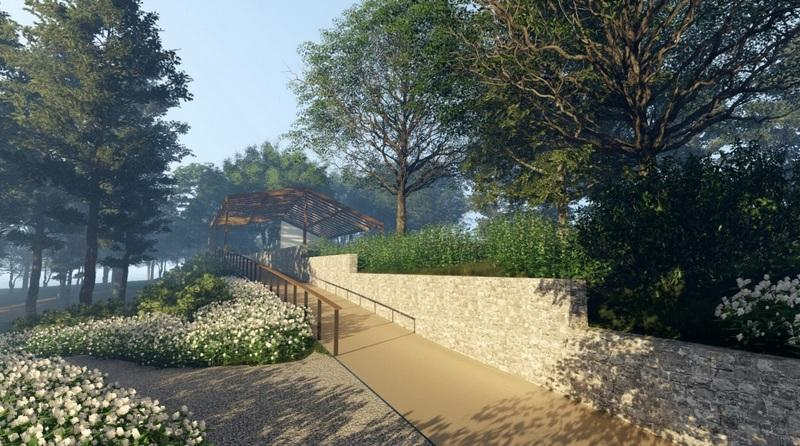 A pavilion with a catslide roof, inspired by The Matthew Curtiss House Museum, and a series of pathways lined with flowers are just some of the elements in the design labeled SH37, which was selected by the Sandy Hook Permanent Memorial Commission…