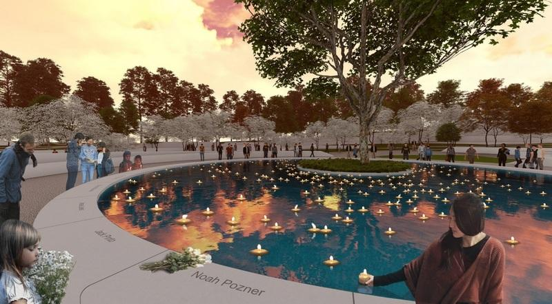 A sycamore tree in the center of a man-made pond with floating candles is the central element in the design labeled SH37. It was created by Daniel Affleck and Ben Waldo of SWA Group, based out of San Francisco, Calif., and was selected by the Sandy…