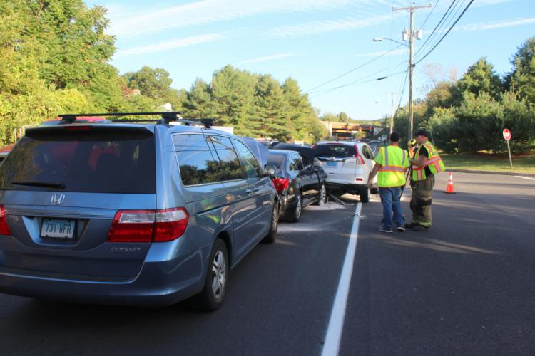 Police report a three-vehicle chain-reaction accident near 12 Berkshire Road, near the driveway for Newtown High School, about 4:43 pm on September 28. Police said eastbound motorist Laura Hatstat, 32, of Woodbury, who was driving a 2015 Honda CR-V…