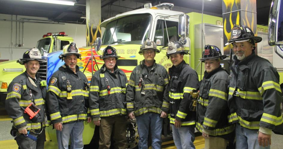 Andrew White, center, has been elected the new chief of Botsford Fire Rescue. Chief White and his officers - from left, Jim Swenson, Wayne Geitz, Pete Blomberg, Tom Paloian, Kyle Placko, and John Benvenuti - will host an open house at their fire…