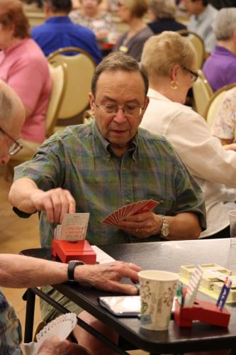 Russ Sackowitz makes a move during The Longest Day, Newtown Bridge Club's fundraiser for the Alzheimer's Association on June 21.  (Bee Photo, Hicks)