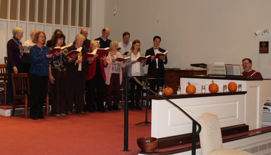 Recently hired NCC Music Director John Leibensperger directed the adult choir. NCC Organist Phil Crevier accompanied the group, and offered additional music during the evening.  (Bee Photo, Hicks)