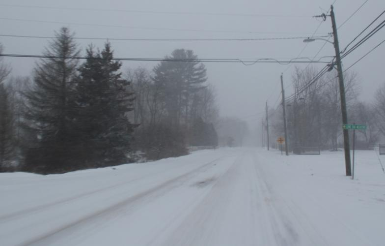 Usually filled with vehicles carrying people to work and/or school, Berkshire Road was all but empty around 8 am Thursday, January 4.  (Bee Photo, Hicks)