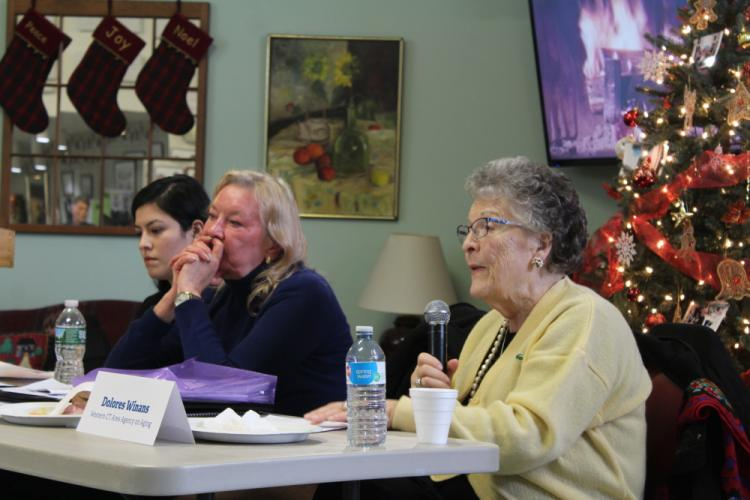 Newtown resident and WCAAA board member Dolores Winans told those at Friday's Lunch & Learn that she too has concerns for her own health care. She is counting on insurance companies to honor their promises, she said.   (Bee Photo, Hicks)