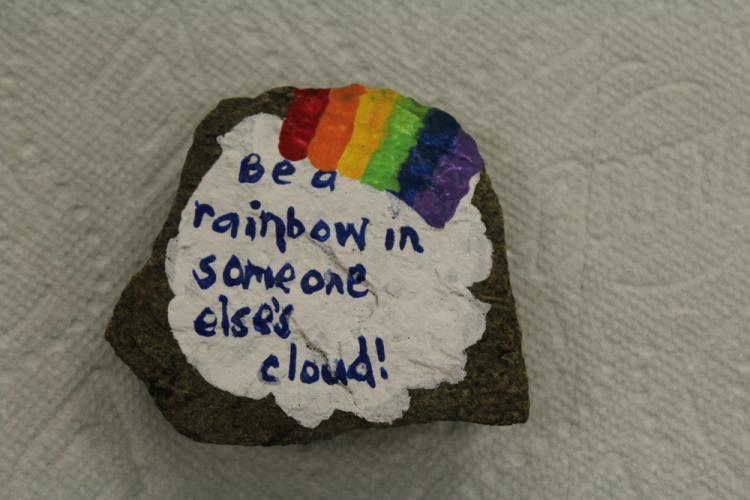Putting simple messages and/or designs onto small rocks is the mission of Newtown CT Rocks.  (Bee Photo, Hicks)